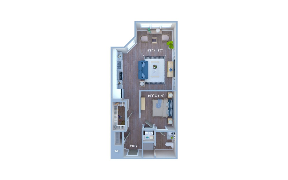 S3 - Studio floorplan layout with 1 bath and 632 square feet. (3D)